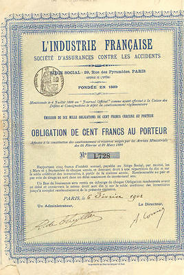 French Industry Accidental Insurance    1902 Paris France certificate stock