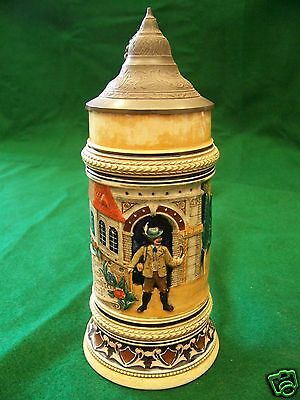 Antique German full color pottery stein