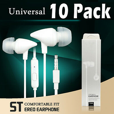 10 Pack Stereo Earphone In-Ear Earbuds Headphone with Mic for Samsung S6 S7 Edge