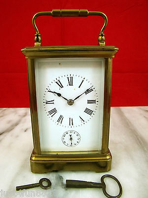 Antique French Carriage Alarm Clock w/ Gong.