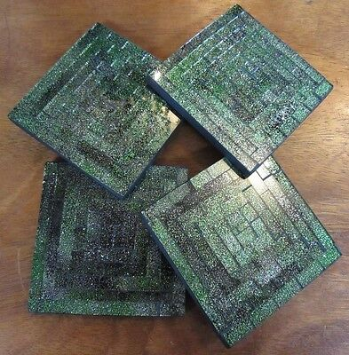 X4 Beautiful Square Mosaic Tiled Drink Coaster Set of 4 Sparkle Green