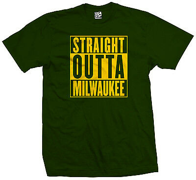Straight Outta Milwaukee T-Shirt - Packers Brewers Parody - All Sizes & Colors