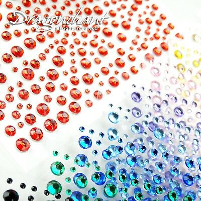 Mixed Size 1 2 3 4mm Flatback Rhinestone Stickers Self Adhesive Stick On Bling