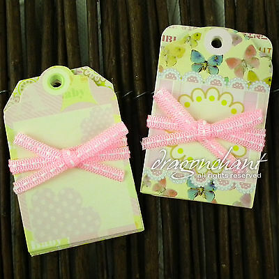 CLEARANCE! Pack of New Born Baby Girl Christening Gift Tags Price Label Luggage
