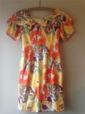 Vintage 1950s/80s Cotton Gallery Abstract Floral Painterly Print Dress UK8 10 12