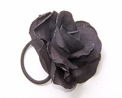 Black Glitter Synthetic Flower Elasticated Hairband For Special Occasions(Zx43)