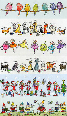 Bothy Threads ROW OF Cross Stitch KITS 7 DESIGNS Fairies Cats Dogs Budgies Mice