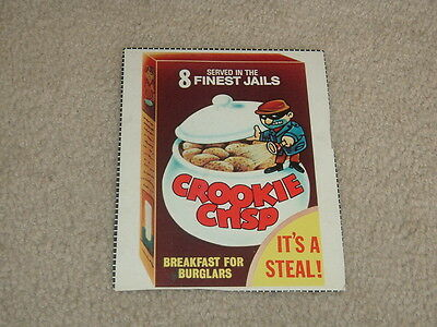 1982 Topps Wacky Packages Cereal Box Panel Crookie Crisp RARE!