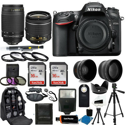 Nikon D7200 Digital SLR Camera + 18-55mm VR + 70-300mm + Top Value Accessory Kit
