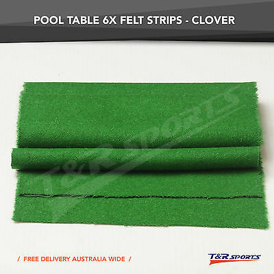 6x Clover Double-sided Wool Pool Table Felt Strips for Cushion