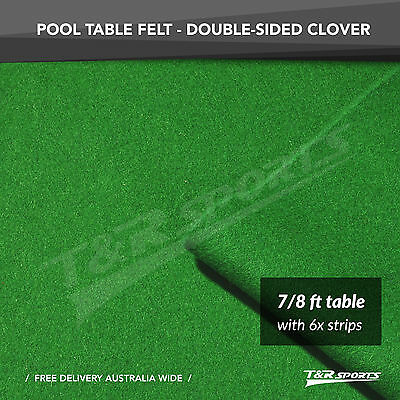 "Clover Double-sided Wool Pool Snooker Table Cloth + 6x Felt Strips for 7""/8"""