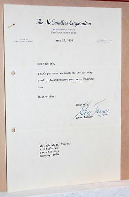 GENE TUNNEY TLS - 1955 McCandless Corp Stationery Letter Signed Autographed