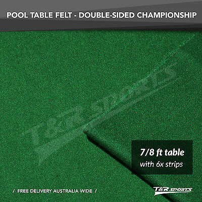 "Championship Green Double-sided Wool Pool Snooker Table Cloth/Felt 6x Strip 7""8"""