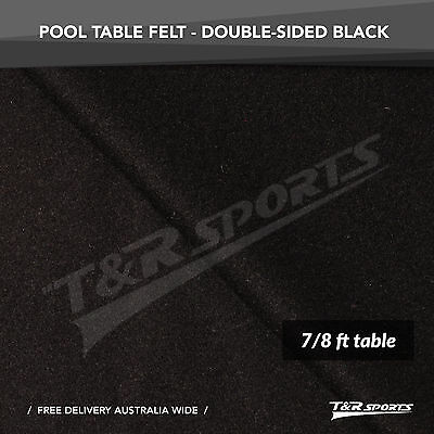 """Black Double-Sided Wool Cloth/Felt + 6x Strips Suit 7/8"""" Pool Snooker Table"""
