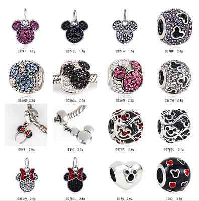 925 Sterling Silver Disney Minnie Mickey Series fit European Charm Bead Bracelet
