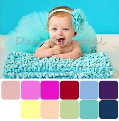 Handmade Newborn Infant Baby Girl Flower Headband & Tutu Skirt Dress Photo Prop