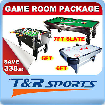 Game Room Package 5FT Soccer + 6FT Air Hockey + 7FT Slate Pool Table Free Acc.