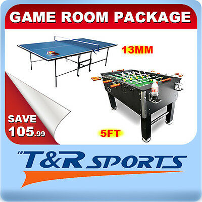 Game Room Package 13mm Table Tennis + 5FT Soccer Table Combined Postage