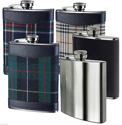 Hip Flask  Stainless Steel with Leather And Tartan in Different Colours - 8oz