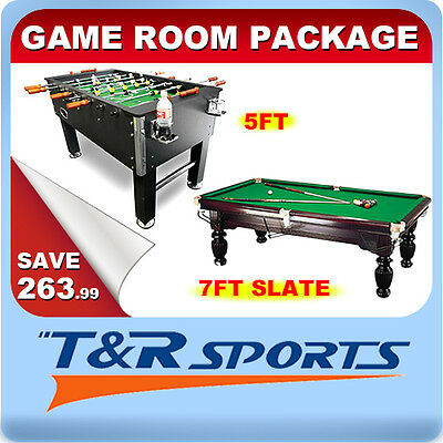 Game Room Package 5FT Soccer + 7FT Slate Pool Table Free Accessories Metro Post*