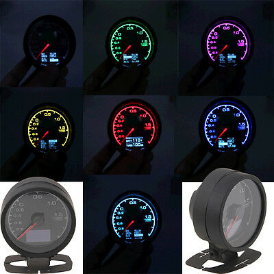 7-Color LED Digital Universal 60mm Car Turbo Boost Gauge Meter Adjustable Colors