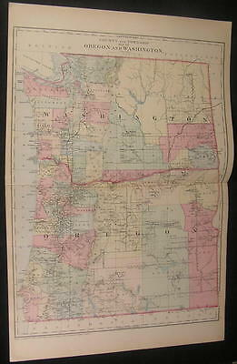 Oregon Washington Blue Mountains Curry Co 1882 old vintage hand color map