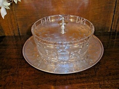 Silver Plated CUT GLASS DISH with ENGRAVED LID and STAND