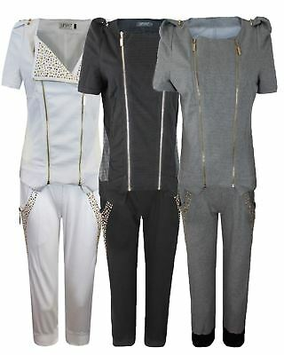 Ladies Womens Double Zip Cap Sleeves Knee Length Studs Jogging Suit Track Suit