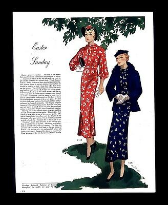 Antique 1935 Butterick Patterns Womens Fashion Easter Spring Vintage Print Ad