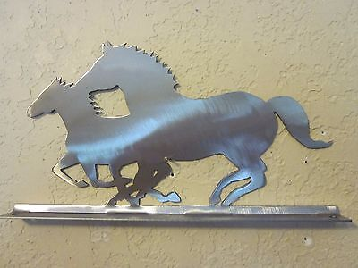 Running Horses Mailbox Topper (No Name) Steel Raw Metal Finish