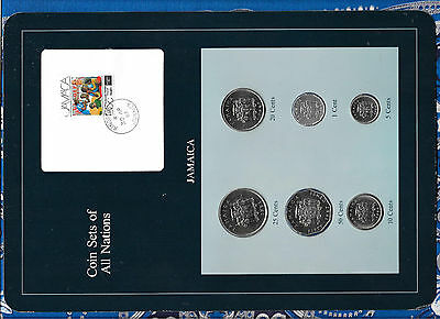 Coin Sets of All Nations Jamaica w/card 1983-1987 UNC 50,20 Cents 1987