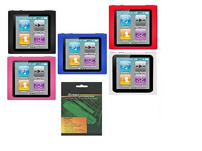 5 Soft Skin Cover Case + Screen Protector for Apple iPod Nano 6G 6th Generation