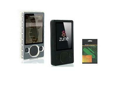 Black + Snap On Plastic Case + Screen Protector for Microsoft Zune 80GB 120GB