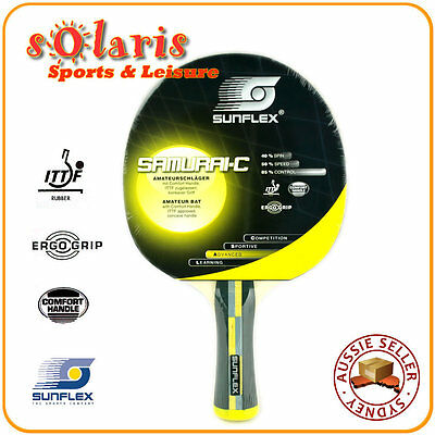 SUNFLEX SAMURAI-Concave Training Table Tennis Bat with Comfort Handle 10321