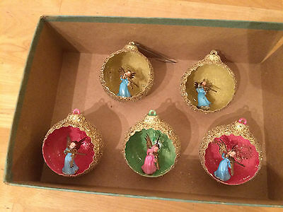 Lot of 5 Vintage Plastic Glitter Christmas Ornaments w/ Angels Playing Violins