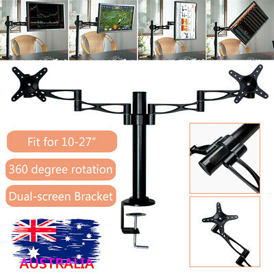 Dual LED monitor stand 2 arm holds two LCD screen TV desk mount bracket flat
