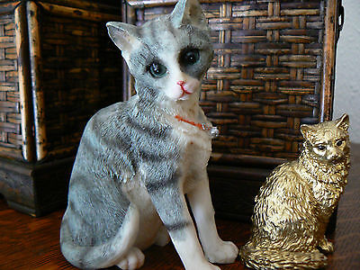 2 Cat Figurines, One Resin Tabby & 1 Metal, Gold Painted Persian