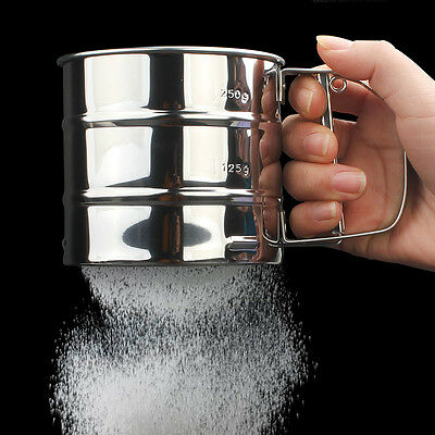Mechanical Flour Sugar Icing Mesh Sifter Shaker Baking Kitchen Stainless Tools