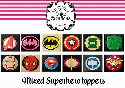 12 x edible fondant mixed Superhero cupcake/cake toppers