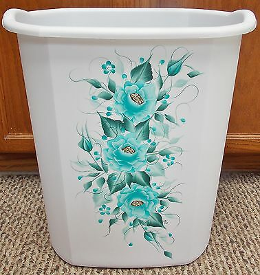 Hp Roses/shabby Chic/waste Paper Basket Teal/new Color