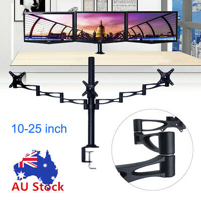 "Tilt Swivel 3 Arm LED Screen Monitor Computer Bracket Desk Mount 10-25"" Flat"