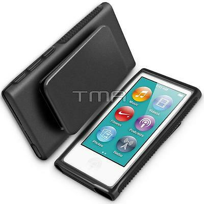 Hybrid TPU Rubber Gel Soft Case Cover Holster With Clip For iPod Nano 7 - Black