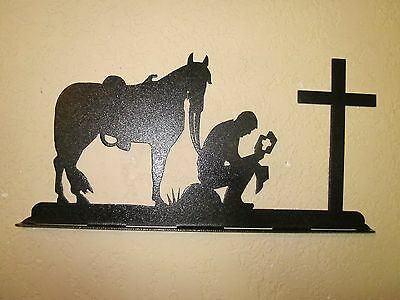 Praying Cowboy Mailbox Topper (No Name) Steel Textured Black Powder Coat Finish