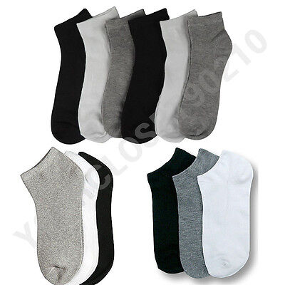 Mens Womens 9-11 10-13 Crew Ankle Low Cut Socks Lot Black White  3-6-12 Pairs