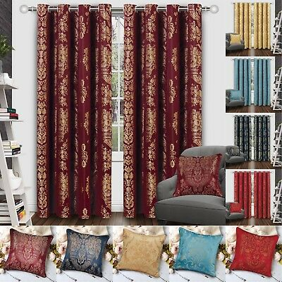Ring Top Fully Lined Pair Eyelet Ready Made Jacquard Curtains