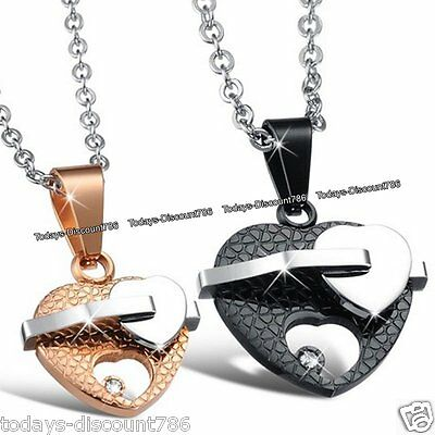 3D Love Heart Necklaces Silver Xmas Gift For Couples Her Him Wife Husband Women