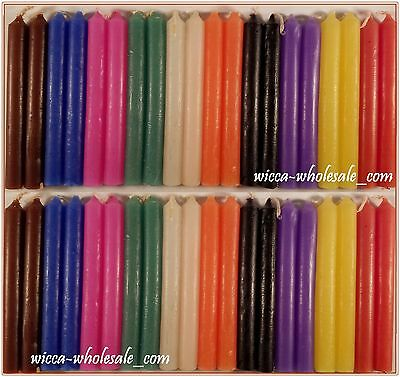 """LOT OF 40 ASST COLOR Chime Spell Candles Mini 4"""" Pagan Wicca Ritual FREE SHIP"""