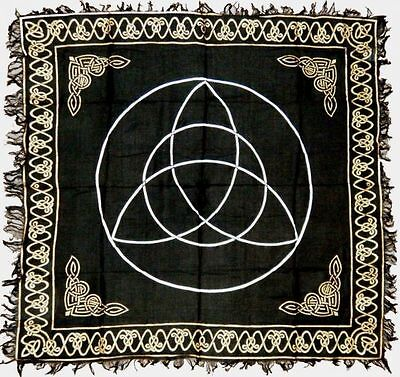 TRIQUETRA ALTAR CLOTH 36 X 36 inchs Black & Silver Wiccan Witch Pagan FREE SHIP