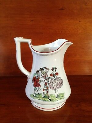 Rare c1860 Elsmore & Forster Puzzle Jug Theater Chap Book Prints Hand Painted