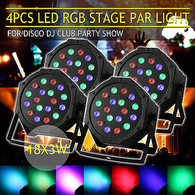 4X 54W RGB LED DMX Par CAN DJ Disco Uplighter Lighting Effect Strobe Stage Light